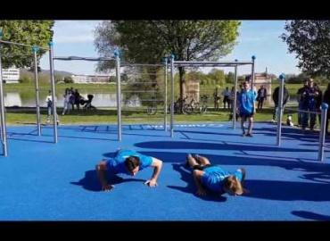 Eröffnung Runtastic Fitness Park Linz - Calisthenics Showact by Runnersfun